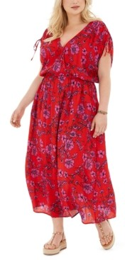Band of Gypsies Trendy Plus Size Floral-Print Tie-Sleeve Maxi Dress