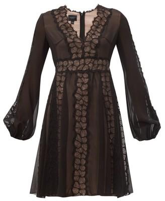 Giambattista Valli Floral Lace-trim Silk-georgette Dress - Black
