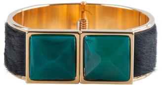 Marni Black Fur Horn Embellished Gold Tone Wide Bracelet
