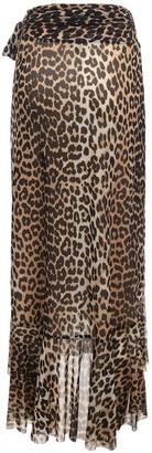 Ganni Leopard Printed Mesh Warp Midi Skirt
