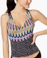 Bar III Magic Touch Printed Strappy-Back Tankini Top, Only at Macy's