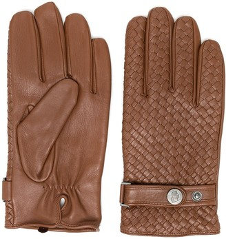 Karl Lagerfeld Paris Woven Leather Gloves