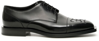 Fendi FF KARLIGRAPHY DERBIES 10 Black Leather