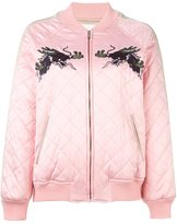 SteveJ & YoniP Steve J & Yoni P - embroidered quilted bomber jacket - women - Acrylic/Polyester/Polyurethane/Wool - M