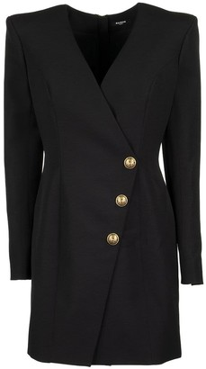 Balmain Short black wool cache-cur dress