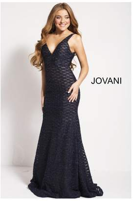 Jovani Navy Lace Gown