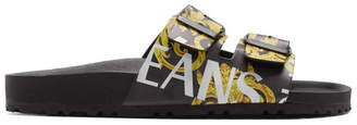 Versace Black and Yellow Barocco Straps Sandals