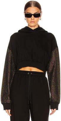 Frankie B. Kylie Crystal Sleeves Cropped Hoodie in Black | FWRD