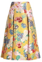 Valentino Floral-brocade pleated silk-blend skirt