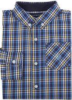 Andy & Evan Childrenswear Long-Sleeve Plaid Poplin Shirt, Navy, Size 2-7