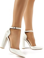 Public Desire Sofia Wide Fit Croc Pointed Block Heels
