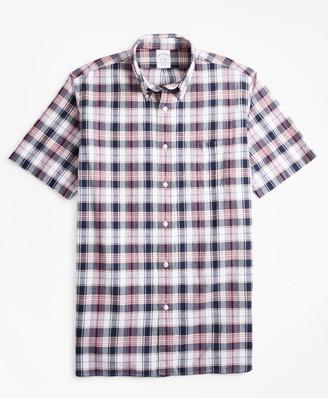 Brooks Brothers Regent Fit Navy-Red Madras Short-Sleeve Sport Shirt