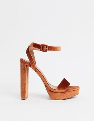 ASOS DESIGN Natasha platform barely there heeled sandals in rust velvet