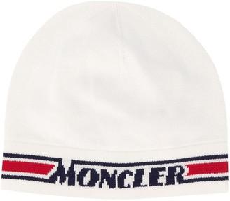 Moncler Enfant Logo Stripe Knitted Hat