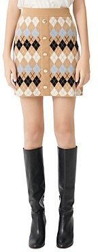 Maje Jilina Argyle Knit Mini Skirt