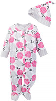 Offspring Pink Floral Footie & Hat (Baby Girls)