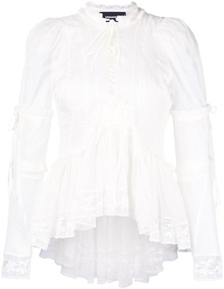 DSQUARED2 Ruffle Lace Trim Blouse