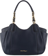 Salvatore Ferragamo Smooth Leather Hobo Tote Bag, Navy