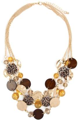 Riah Fashion Multi-Line Disc Statement-Necklace