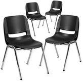 Flash Furniture Plastic Ergonomic Stack Chairs (Set of 4)