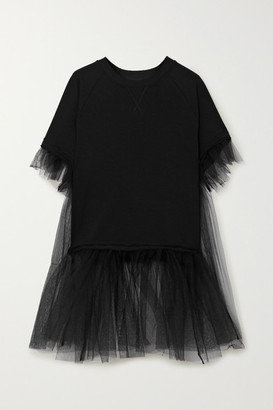 MM6 MAISON MARGIELA Cotton-blend Jersey And Tulle T-shirt - Black