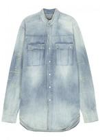 Balmain Light Blue Disressed Denim Shirt