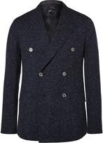 Caruso - Blue Butterfly Slim-fit Double-breasted Slub Wool Blazer