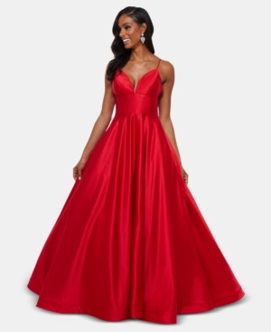 Betsy & Adam Petite V-Neck Ball Gown