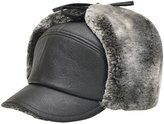 Feoya Men's Winter Baseball Hat Warm Faux Leather Thick Flat Cap with Ear Flaps