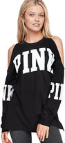 PINK Cold Shoulder Long Sleeve Campus Tee