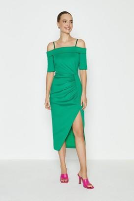 Coast Scuba Wrap Hem Midi Dress