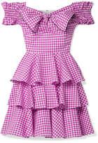 Caroline Constas Helena Off-the-shoulder Gingham Cotton-poplin Mini Dress - Plum