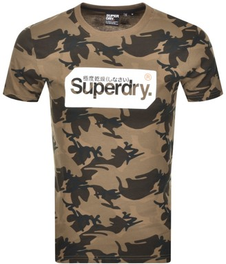 Superdry Logo Camo Short Sleeve T Shirt Brown