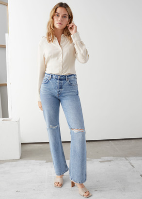 And other stories Straight Mid Rise Distressed Jeans