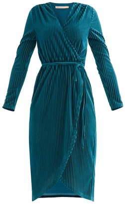 Paisie London Striped Velvet Wrap Dress In Turquoise