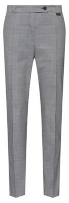 HUGO BOSS Regular Fit Cropped Pants In Glen Check Stretch Fabric - Light Blue