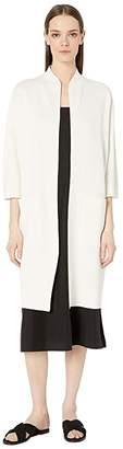 Eileen Fisher Silk Organic Cotton Interlock High Collar 3/4 Sleeve Long Jacket (Ivory) Women's Coat