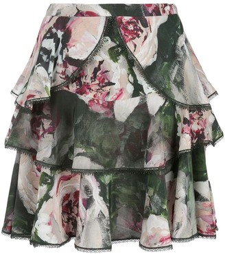 Marchesa floral ruffled mini skirt