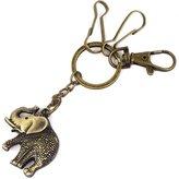 uxcell® Metal Elephant Pendant Keyring Keychain Key Chain Ring Hook Holder 4.7 Inch Long