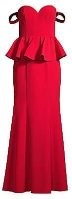 Aidan Mattox Women's Off-The-Shoulder Peplum Evening Gown - Size 0
