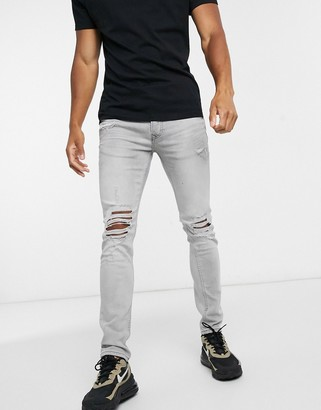 Topman skinny jeans with distressed rips in gray
