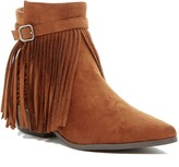 C Label Entice Pointed Toe Fringe Bootie