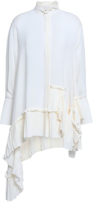Alexander McQueen Draped Pleated Silk Crepe De Chine Top