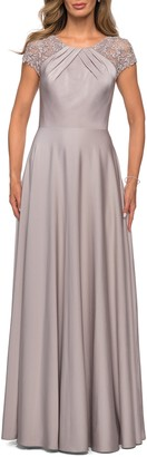 La Femme Pleat Cap Sleeve Satin Gown