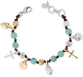 Lucky Brand Two-Tone Beaded Leather Cross Charm Bracelet