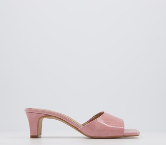 Office Magna Low Heel Mules Pink Leather