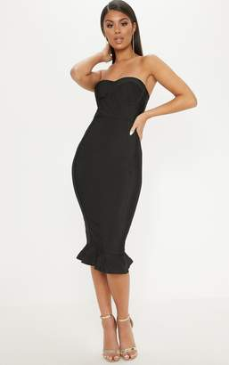 PrettyLittleThing Black Frill Hem Bandage Midi Dress