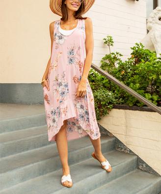 Paolino Women's Casual Dresses Rose - Rose & Blue Floral Side-Pocket Racerback Midi Dress - Women