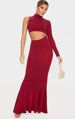 PrettyLittleThing Black High Neck Asymmetric Cut Out Maxi Dress