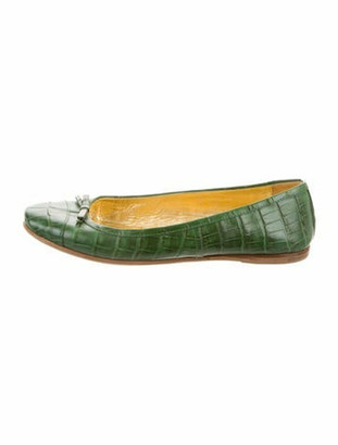 Prada Embossed Bow-Accented Flats Green
